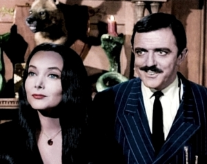 The impeccable Carolyn Jones and John Astin as Morticia and Gomez Addams