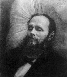 Dostoyevsky on his death-bed, looking remarkably tranquil
