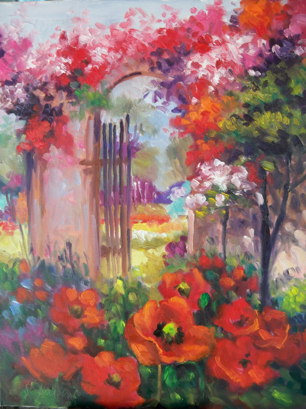 simple flower garden paintings - Flower Garden Paintings