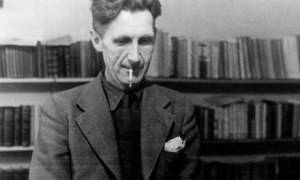 George Orwell at his typewriter.