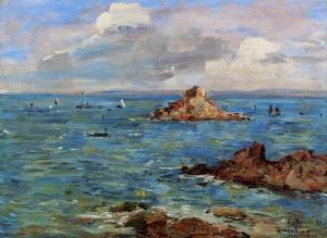 French-Impressionist-Painter-Eugene-Boudin-The-Sea-at-Douarnenez-Oil-Painting