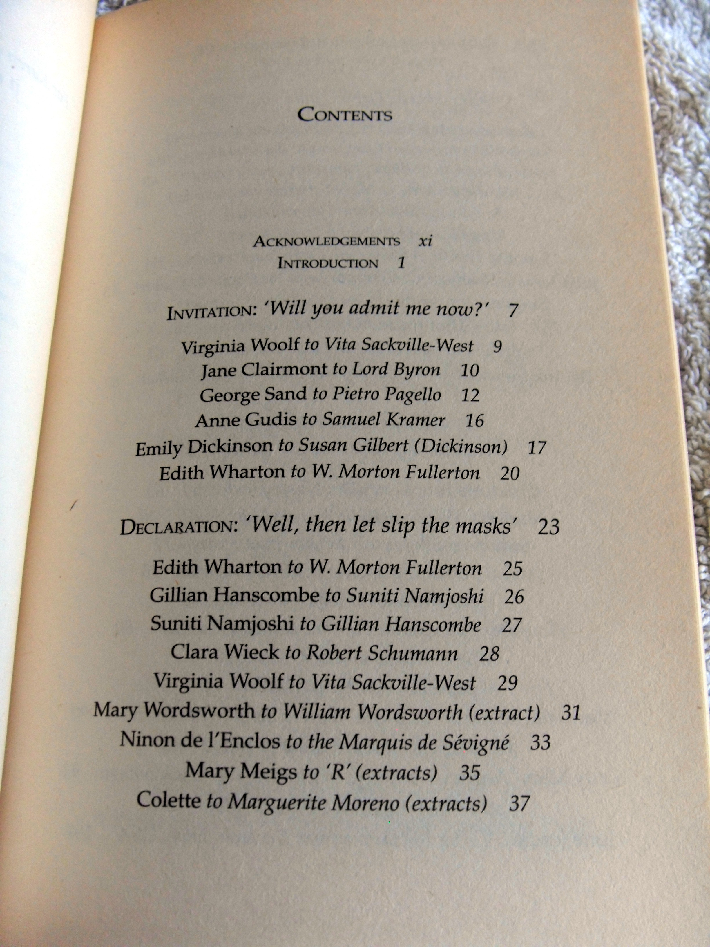 first page of contents