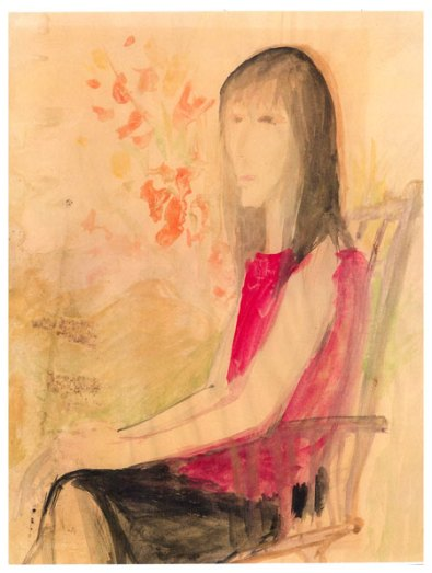 Watercolor by Leonard Michaels of his first wife, Sylvia Bloch, 1964