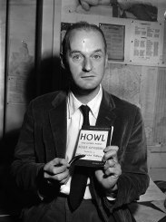 "Ferlinghetti with a copy of Ginsberg's ""Howl"""