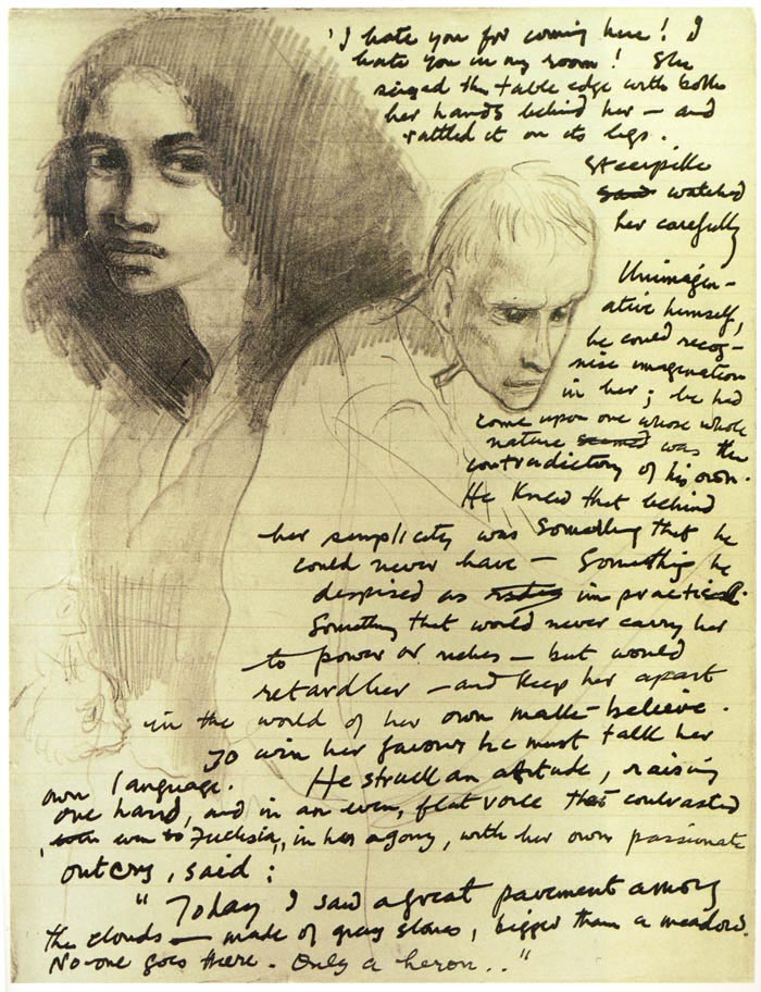Fuchsia and Steerpike on a page of the ms - from mervynpeake.org