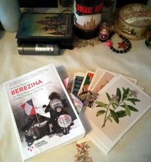 a picture of the book in this post along with the postcards and the bookmark on a table with russianb memorabilia